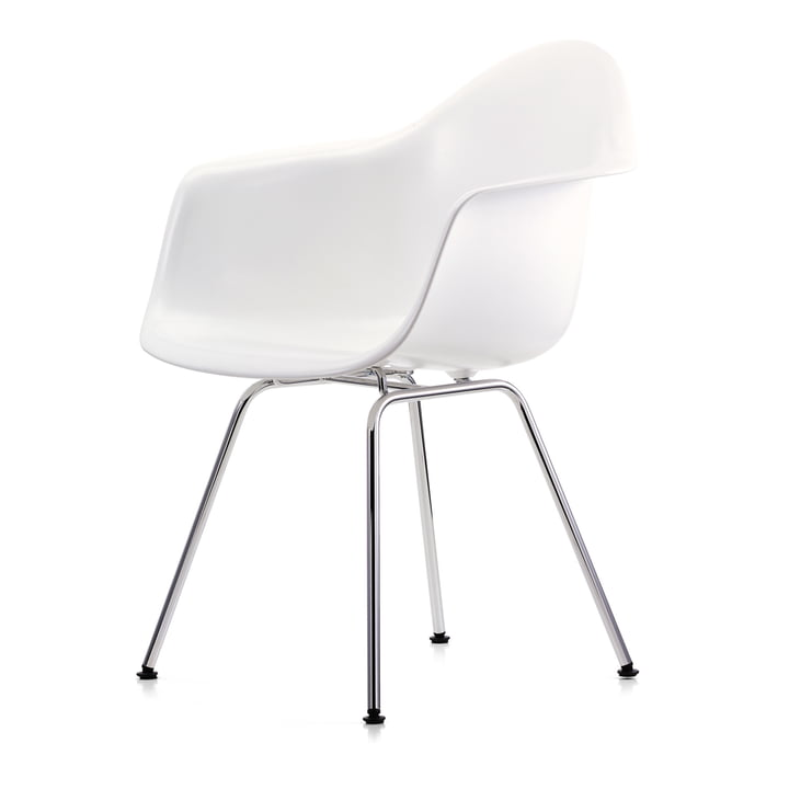 Eames Plastic Armchair DAX from Vitra in chrome / white