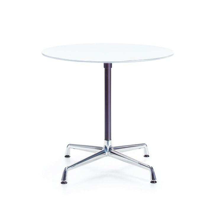 Contract table round, melamine white / chrome, basic dark by Vitra