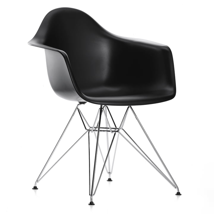 Vitra - Eames Plastic Armchair DAR, chromed / basic dark