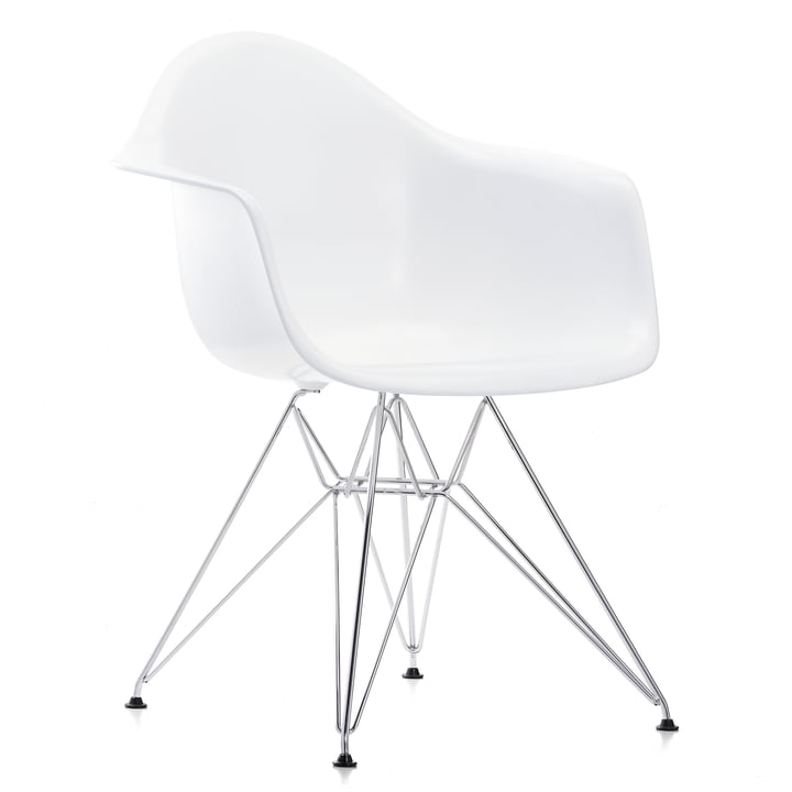 Eames Plastic Armchair DAR by Vitra in chromed / white