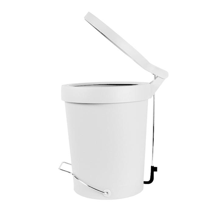 Tip 7 litre pedal bin translucent white