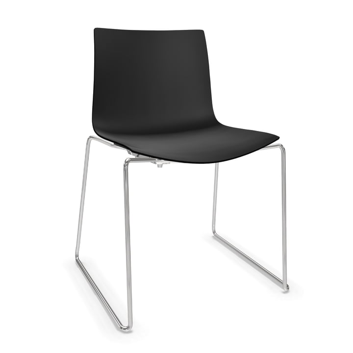 Arper Catifa 46 Chair - sled base, polypropylene, black