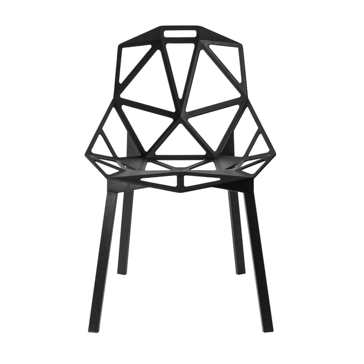 Chair One stacking chair by Magis in aluminium anodized black / black