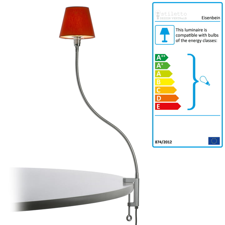 Stiletto - Eisenbein, chromed lamp with textile lampshade