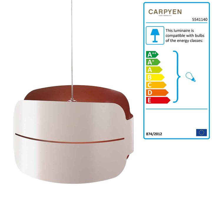 Carpyen Irma Pendant Light - canopy large, white / red-brown
