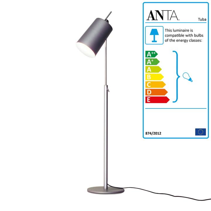Tuba Floor Lamp aluminium-coloured