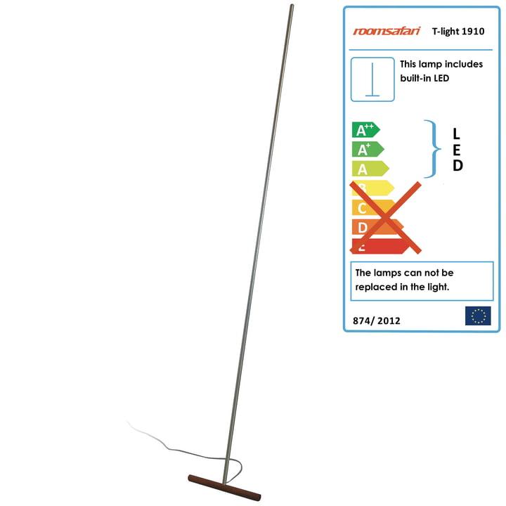 Roomsafari - T-Light lean-lamp, walnut foot
