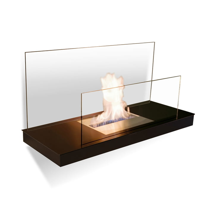 Wallflame II - Steel, black/ glass, transparent