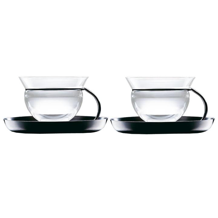 mono filio teacups, set of 2 with saucers