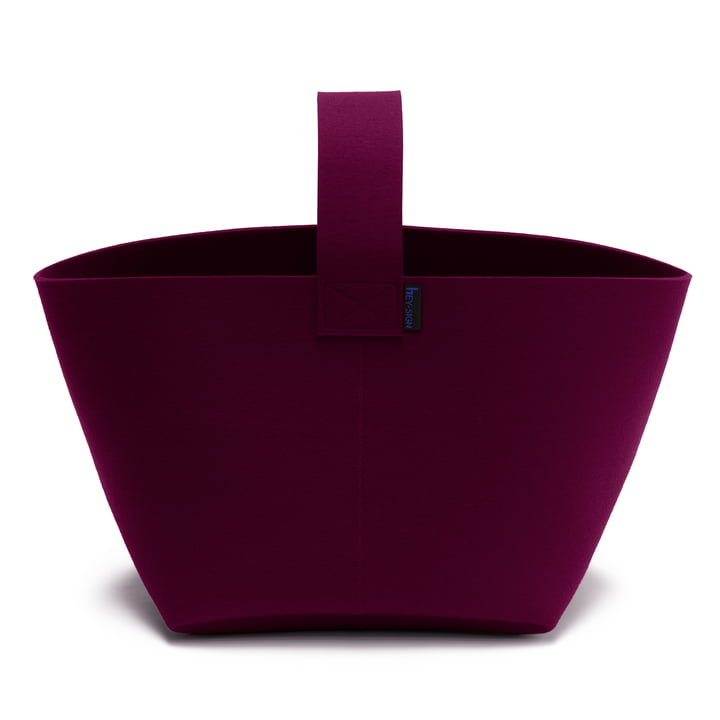 Hey Sign Fireplace wood basket with handle - aubergine