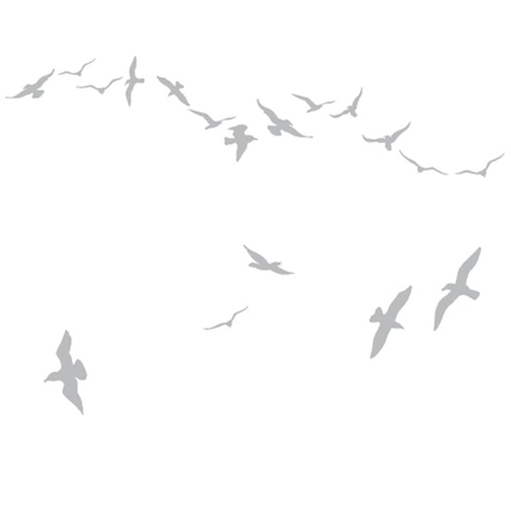 Domestic - Flock of Gulls Wall Stickers, silver
