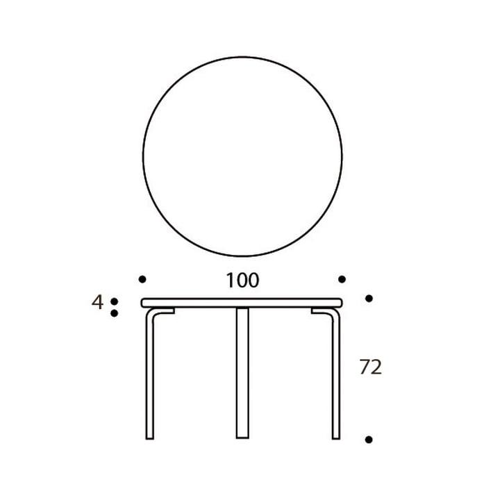 Artek - 90A Round table, dimensions