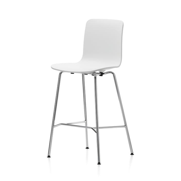 Hal Bar stool, medium, white / chrome / black plastic glides from Vitra