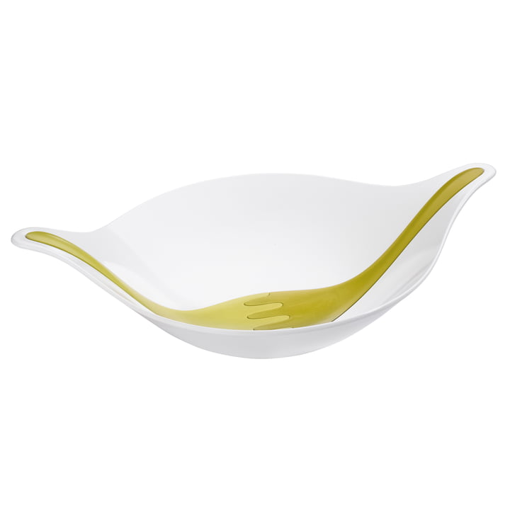 Koziol - Leaf Salad Bowl with Servers, 4.5 l, white