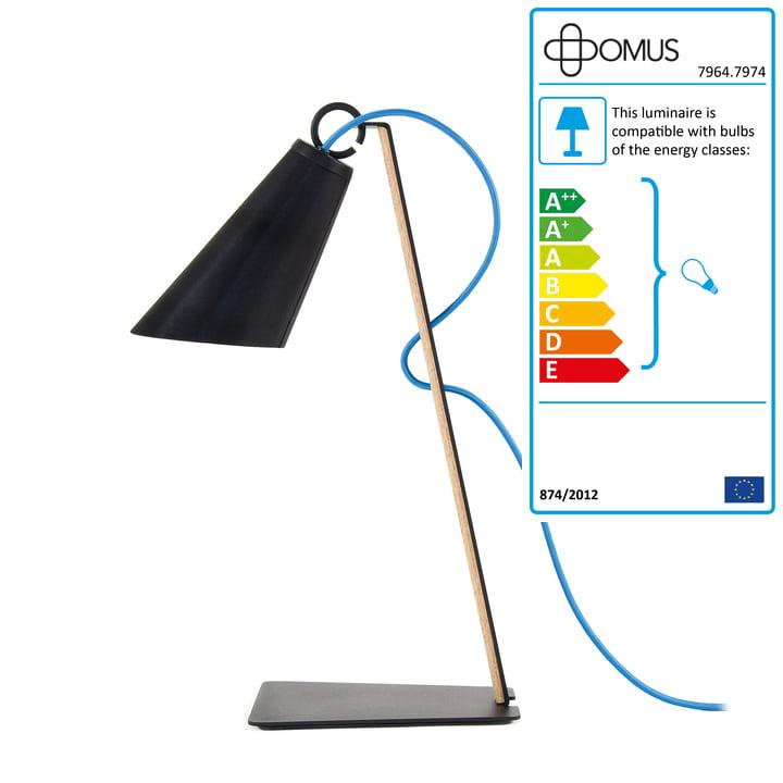 Domus - Pit Table Lamp - oiled oak / black / blue cable