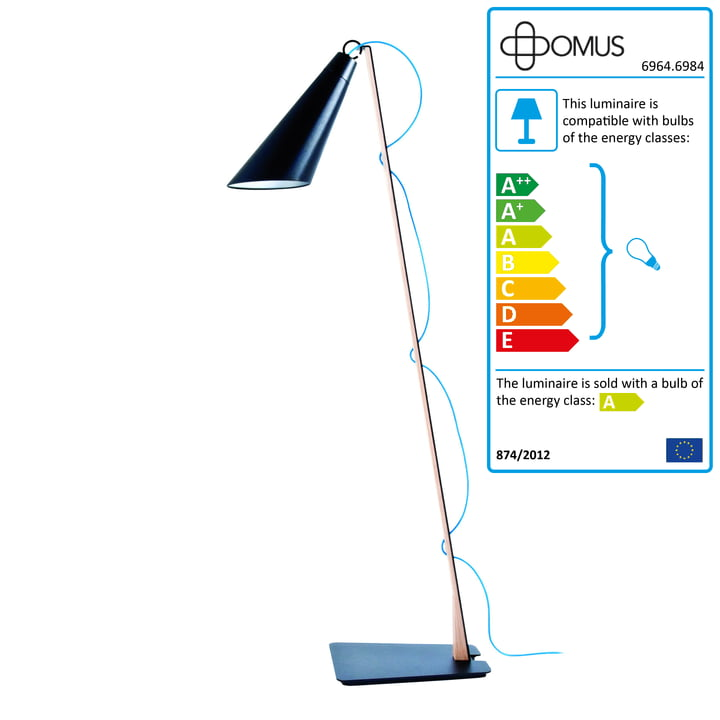 Domus - Pit Reading Lamp - oiled oak / black / blue cable