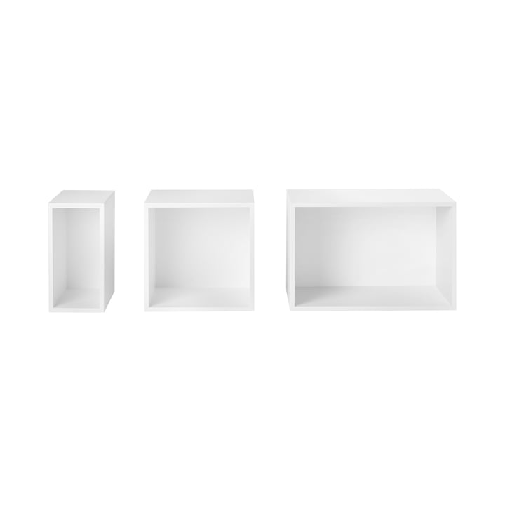 Muuto - Stacked Shelving system with backwall - white