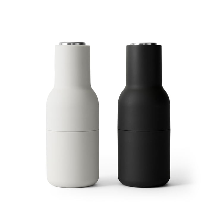 Bottle Salt and pepper mill set from Menu in Ash / Carbon (stainless steel lid)