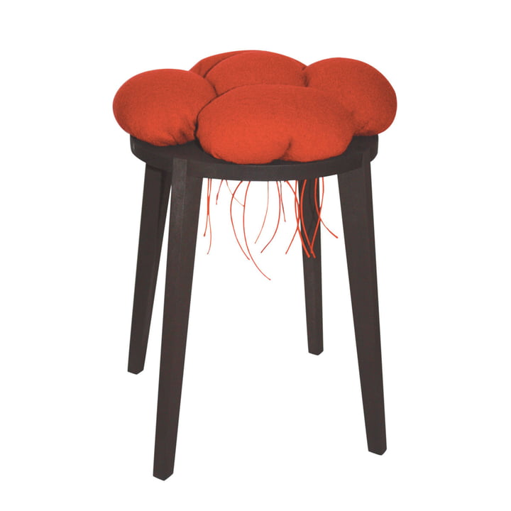 Black Forest stool, red from interior design