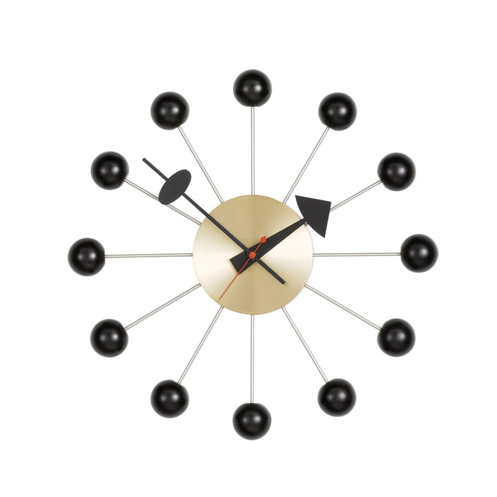 Ball Clock, black / brass