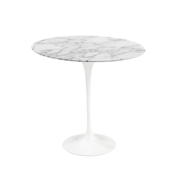 Knoll - Saarinen Tulip Side Table round - white / Marble