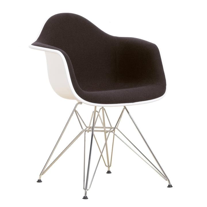 Eames Plastic Armchair DAR - Full Upholstery, Hopsak nero