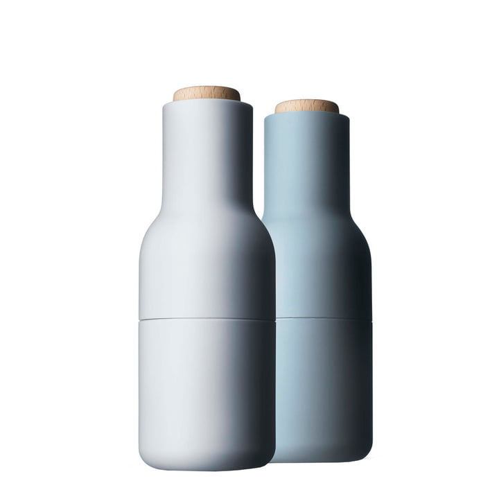 Bottle salt and pepper mills set from Menu in light blue (wooden lid)