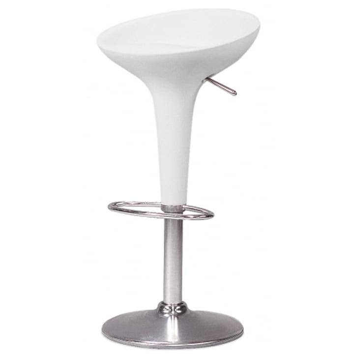 Bombo bar stool - height adjustable, white