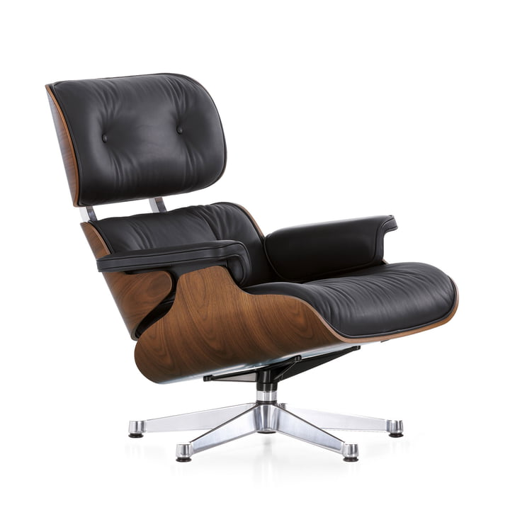 Vitra Lounge Chair, chrome-plated, Walnut (classic size)