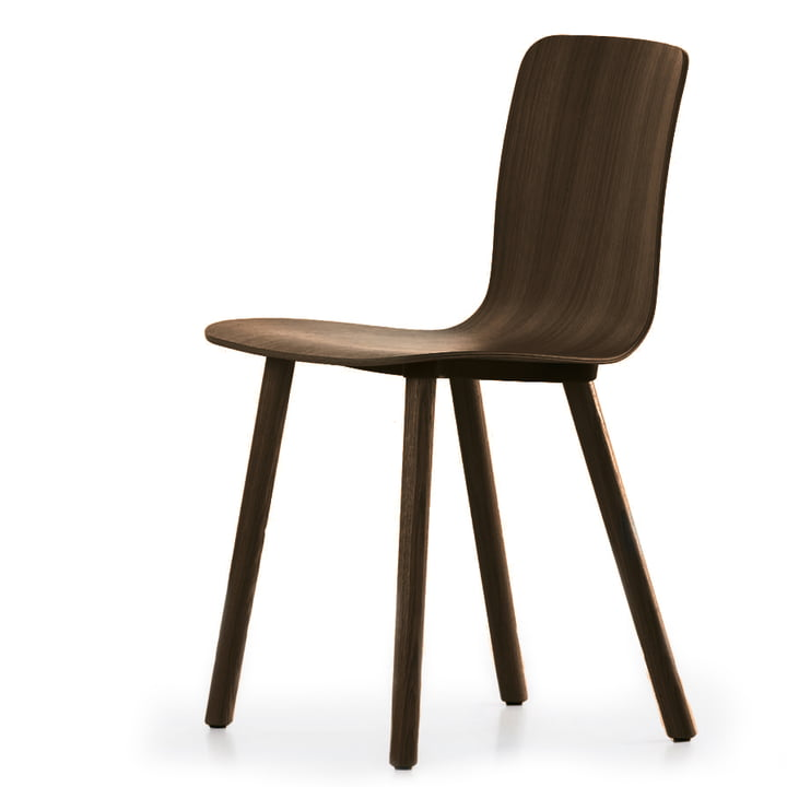 Vitra - Hal Ply Wood, oak dark, slider for carpet