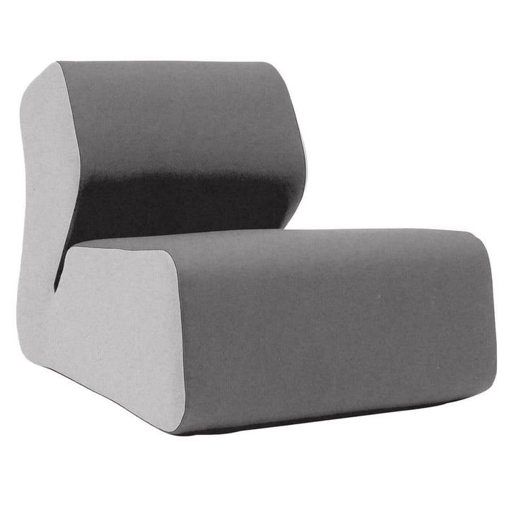 Softline - Hugo lounge chair, felt light gray / dark gray (620)