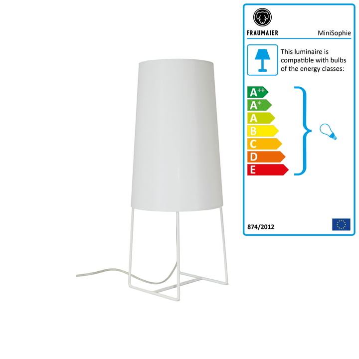 Mini Sophie table lamp LED dimmer by frauMaier in white