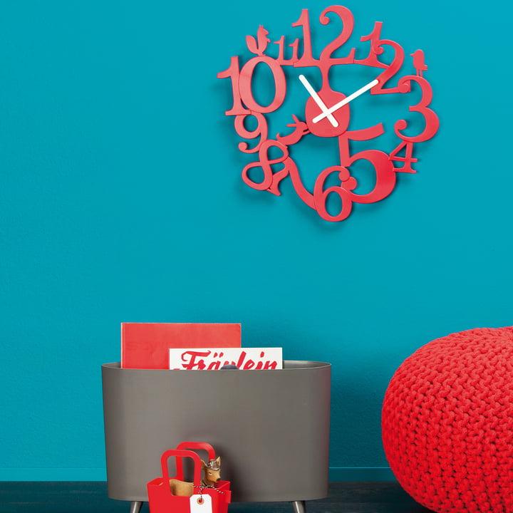 Koziol - [pi:p] wall clock, Red