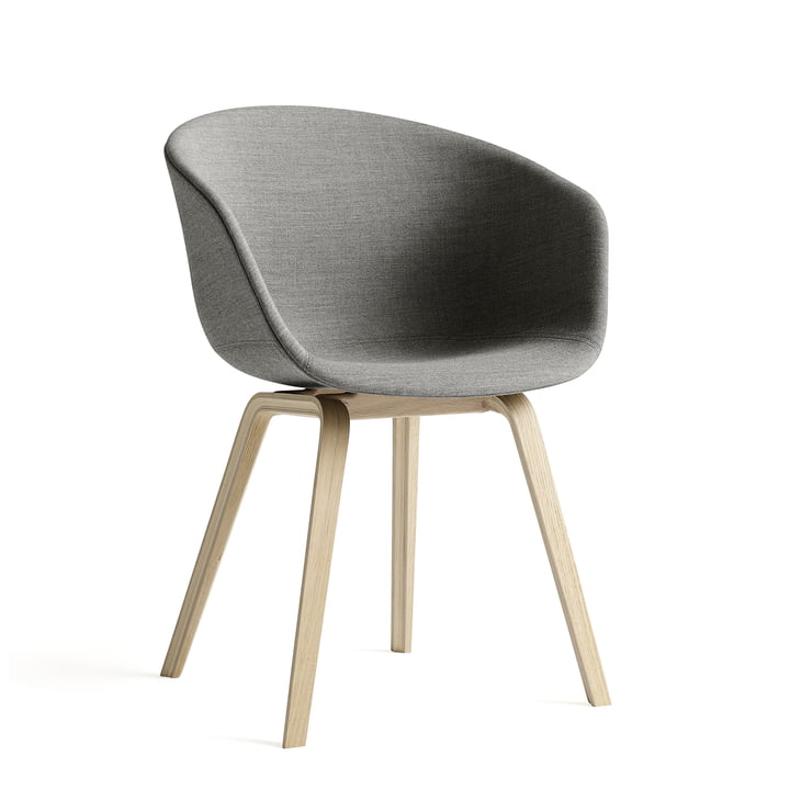 Hay - About a Chair AAC 23 padded, wooden legs base / seat, gray
