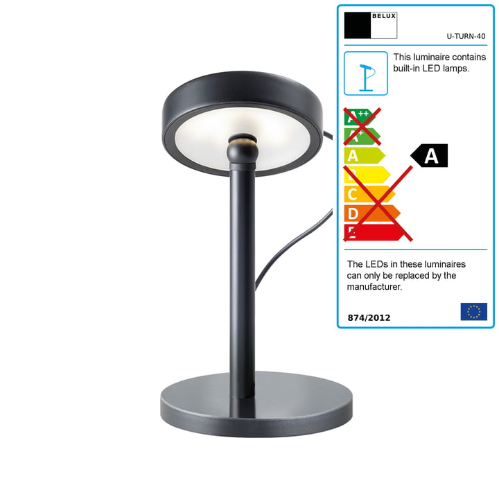 Belux - U-Turn table lamp, LED, black, black