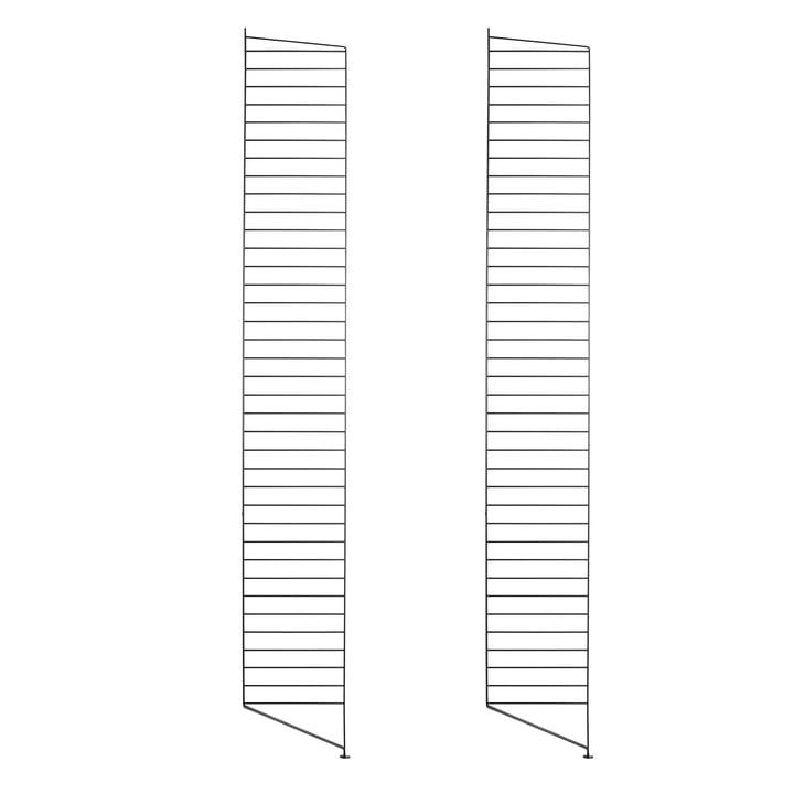 Set of 2 by String floor panel for shelving system, 200 cm, black