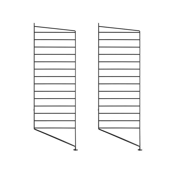 Set of 2 by String floor panel for shelving system, 85 cm, black