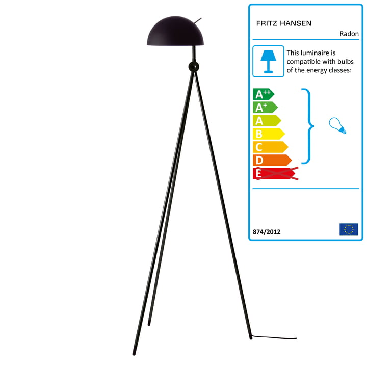 Radon Floor Lamp by Fritz Hansen in Nigra (Black / Black)