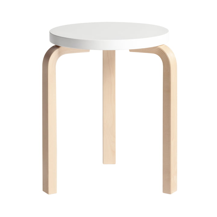 Artek - Stool 60, white lacquered, birch natural