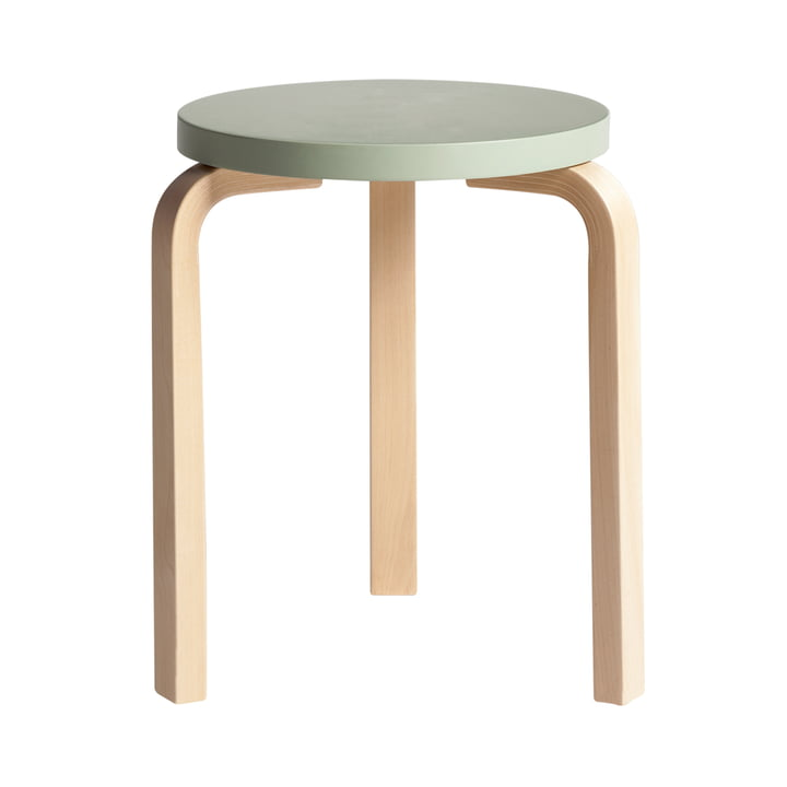 Artek - Stool 60, green lacquered/ birch natural