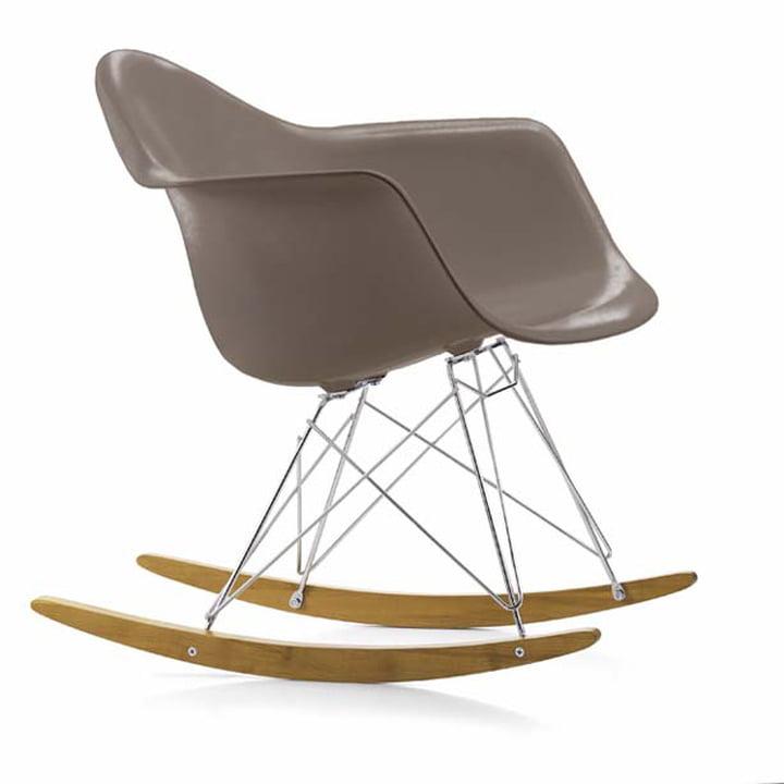 Eames Plastic Armchair RAR by Vitra in maple yellowish / chrome / mauve grey
