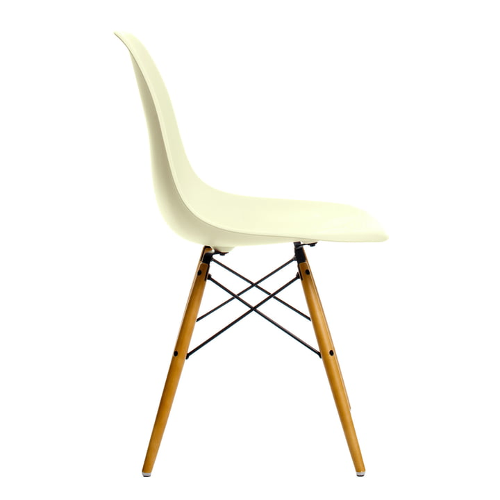 Vitra - Eames Plastic Side Chair DSW - cream, plastic glides