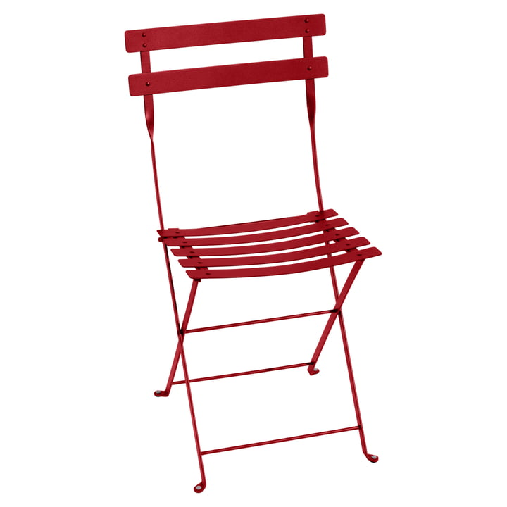 Bistro Fermob metal folding chair in poppy red