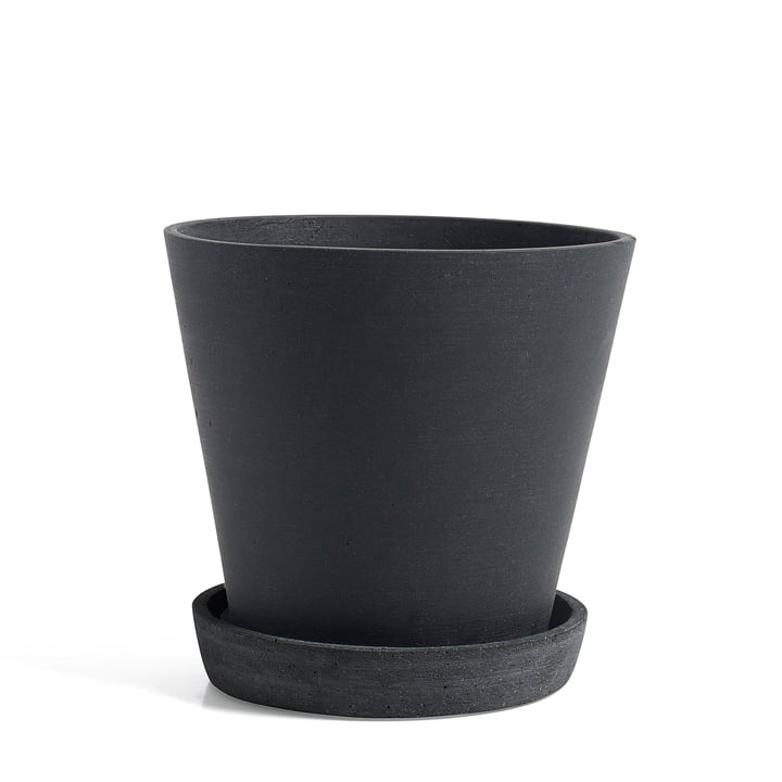 Hay - Flowerpot with Saucer, L, black