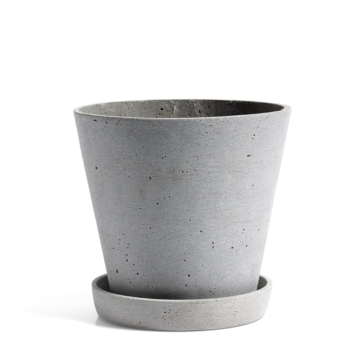 Hay - Flowerpot with Saucer in L, grey