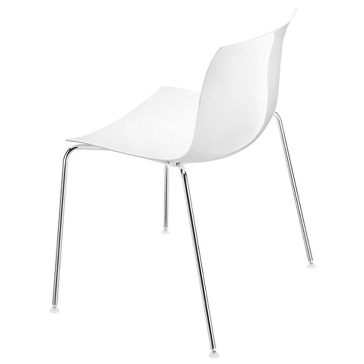 Arper - Catifa 53 chair, plastic seat white / chrome legged fram