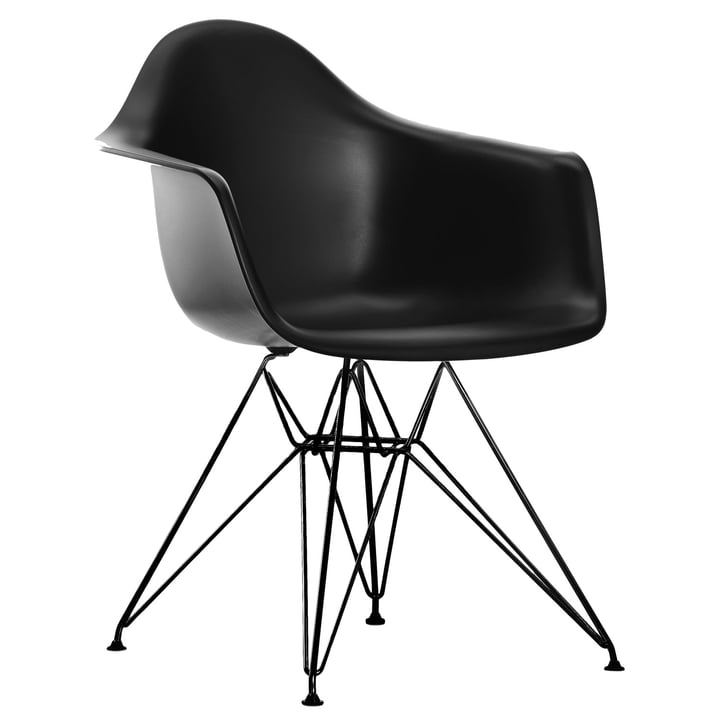 Vitra - Eames Plastic Armchair DAR, powder-coated / basic dark, felt glides black