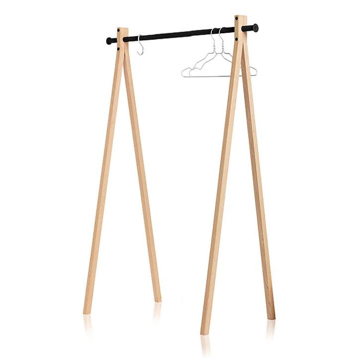 Nomess - Dress-Up wardrobe, ash wood, black, 120 cm