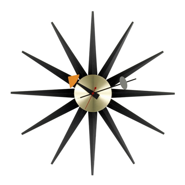 Vitra - Sunburst Clock, black / brass