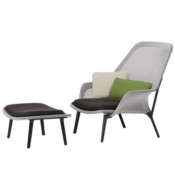 Vitra - Slow Chair & Ottoman, aubergine, brown / cream